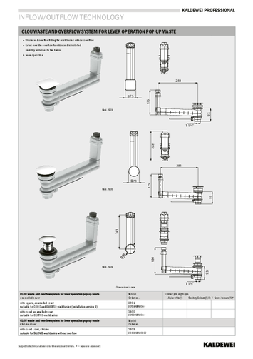 CLOU waste and overflow system for lever operation 3909