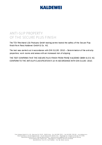 ANTI-SLIP PROPERTY OF THE SECURE PLUS FINISH