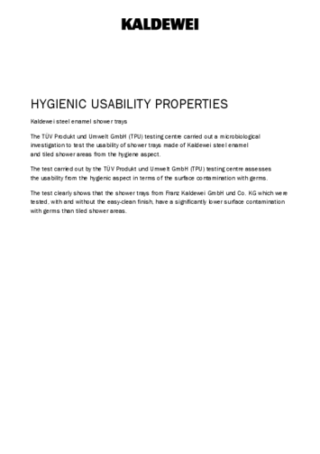 Hygienic usability antislip with easy clean finish