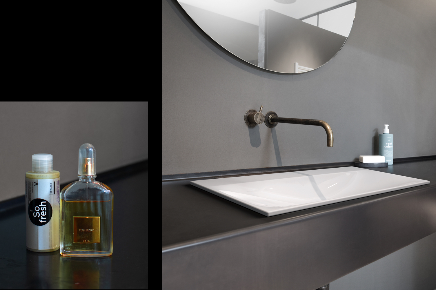 Two photos: Soap dispenser and after-shave bottle on a dark-coloured washbasin with a grey wall / Bathroom design: a white washbasin on a brown vanity unit with a grey wall